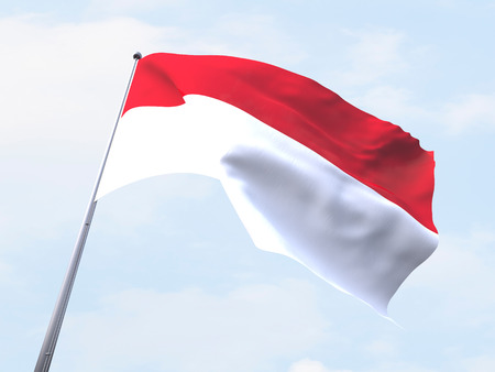 indonesia: Indonesia flag flying on clear sky.