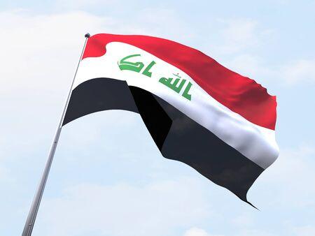 flying flag: Iraq flying flag isolate on white background. Stock Photo