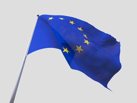 flying flag: European Union flying flag isolate on white background. Stock Photo