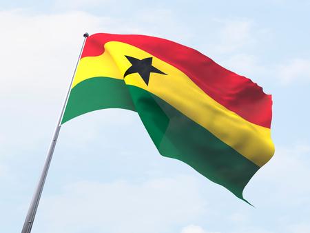 Ghana: Ghana flag flying on clear sky. Stock Photo