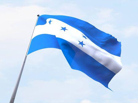 bandera honduras: bandera de Honduras que vuelan en el cielo claro. Foto de archivo
