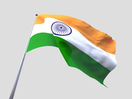 flying flag: India flying flag isolate on white background.