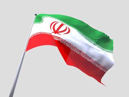 flying flag: Iran flying flag isolate on white background.