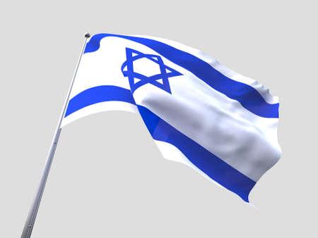 flying flag: Israel flying flag isolate on white background.
