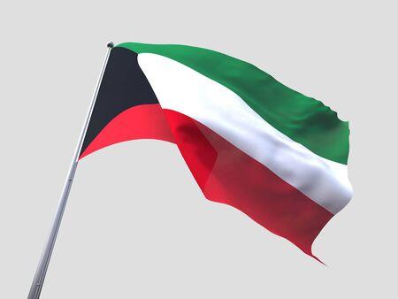 flying flag: Kuwait flying flag isolate on white background.