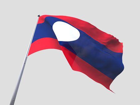 flying flag: Laos flying flag isolate on white background.
