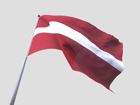 flying flag: Latvia flying flag isolate on white background.