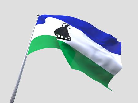 lesotho: Lesotho flying flag isolate on white background. Stock Photo