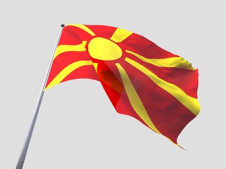 flying flag: Macedonia flying flag isolate on white background. Stock Photo