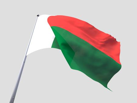 flying flag: Madagascar flying flag isolate on white background.