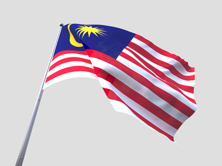 malaysia: Malaysia flying flag isolate on white background. Stock Photo