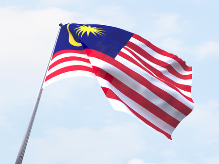 national symbol: Malaysia flag flying on clear sky.