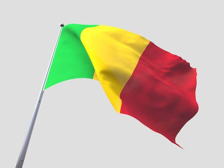 mali: Mali flying flag isolate on white background.