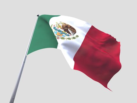 flying flag: Mexico flying flag isolate on white background.