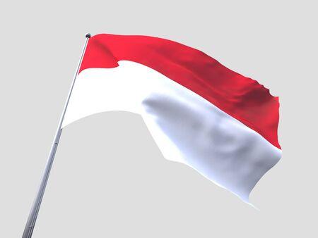 flying flag: Monaco flying flag isolate on white background.