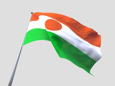 flying flag: Niger flying flag isolate on white background.