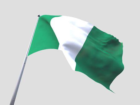 flying flag: Nigeria flying flag isolate on white background. Stock Photo