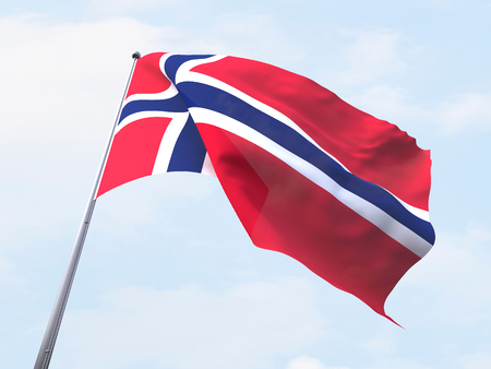 clear sky: Norway flag flying on clear sky.