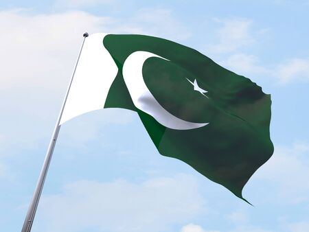 Pakistan flag flying on clear sky.