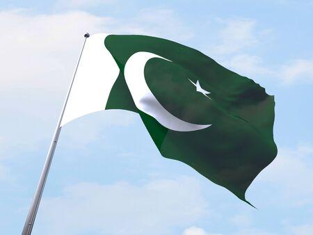 pakistan flag: Pakistan flag flying on clear sky.
