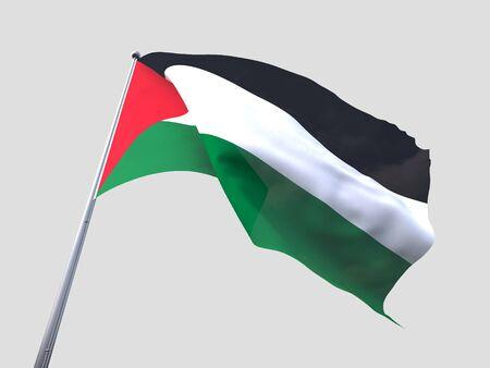 flying flag: Palestine flying flag isolate on white background.