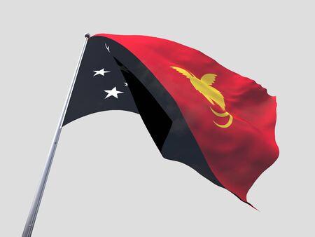 flying flag: Papua New Guinea flying flag isolate on white background