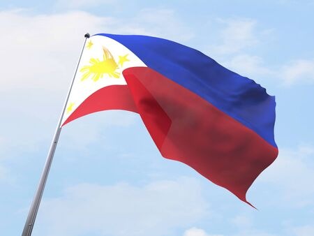 clear sky: Philippines flag flying on clear sky.