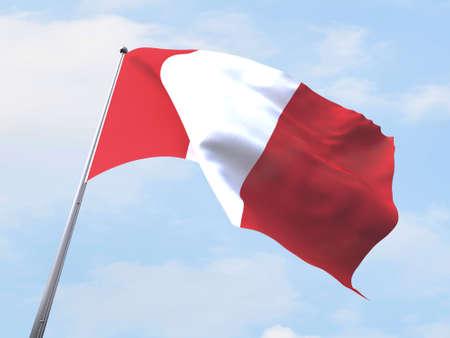 bandera de peru: bandera de Perú que vuelan en el cielo claro.