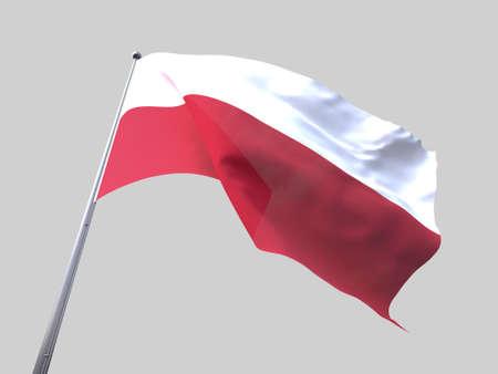 flying flag: Poland flying flag isolate on white background