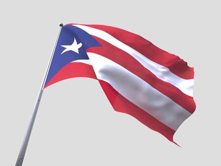 bandera de puerto rico: vuelo de la bandera Puerto Rico aislar sobre fondo blanco Foto de archivo
