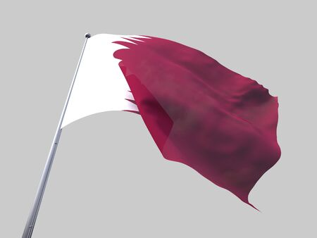 flying flag: Qatar flying flag isolate on white background Stock Photo