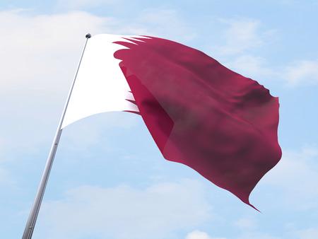 bandera blanca: Qatar flag flying on clear sky. Foto de archivo