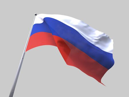 flying flag: Russia flying flag isolate on white background