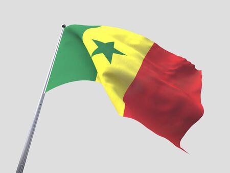 flying flag: Senegal flying flag isolate on white background