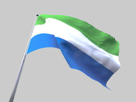 flying flag: Sierra Leone flying flag isolate on white background
