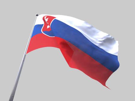 flying flag: Slovakia flying flag isolate on white background