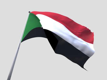 flying flag: Sudan flying flag isolate on white background