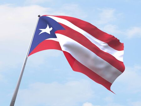 puerto rico: Puerto Rico flag flying on clear sky.