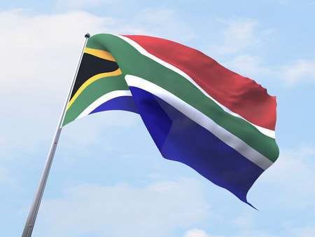 south africa flag: South Africa flag flying on clear sky. Stock Photo