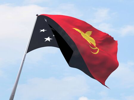 papua: Papua New Guinea flag flying on clear sky. Stock Photo