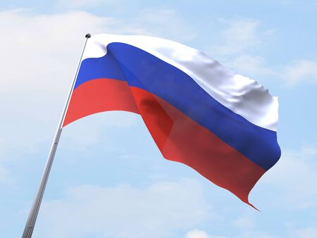 clear sky: Russia flag flying on clear sky. Stock Photo
