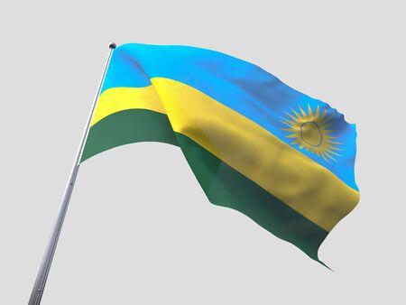 flying flag: Rwanda flying flag isolate on white background Stock Photo