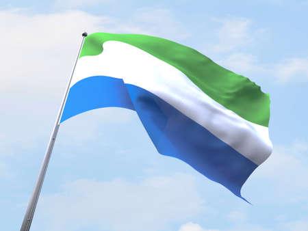 leone: Sierra Leone flag flying on clear sky.