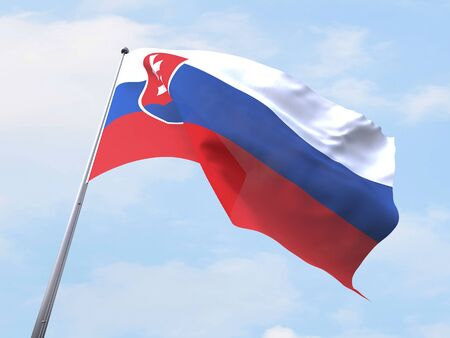 slovakia flag: Slovakia flag flying on clear sky.
