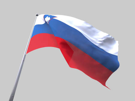 flying flag: Slovenia flying flag isolate on white background Stock Photo