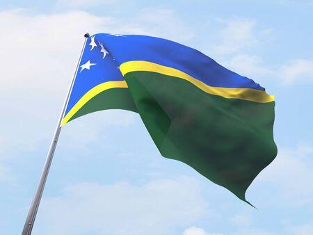 solomon: Solomon Island flag flying on clear sky.