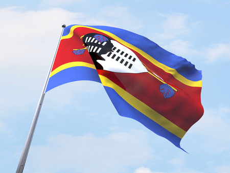 swaziland: Swaziland flag flying on clear sky.