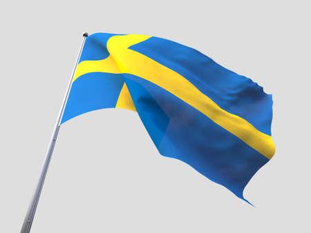 flying flag: Sweden flying flag isolate on white background