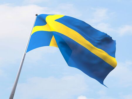sweden flag: Sweden flag flying on clear sky. Stock Photo