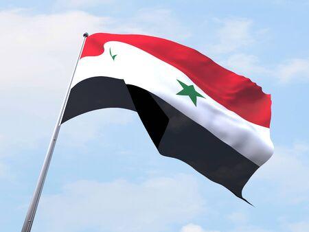 syria: Syria flag flying on clear sky.